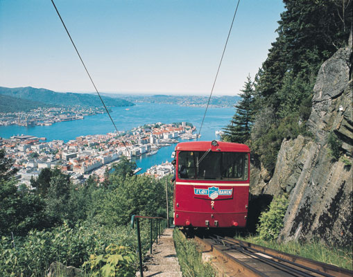 Bergen towns cities Nothing can compete with the funicular railway up to Mount Fløyen and the view of Bergen offered from the top nature culture, Norwegen