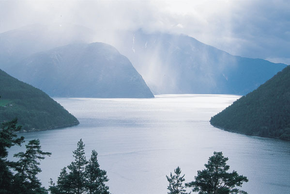 Sogndal Sognefjord mountains nature scenery clouds light rain view of the fjord, Norwegen